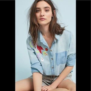 Anthropologie Maeve Boise Embroidered Chambray top